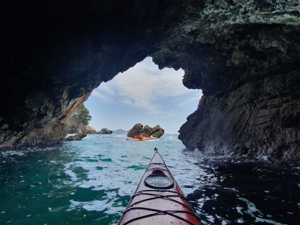 kayaking in a cave